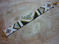 Handgeweven kralenarmbandje Miyuki armband goud zwart ijs blauw wit bohemian hand geweven handgemaakt Loom beaded bracelet geweven beads