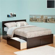 atlantic furniture orlando queen platform bed with flat panel footboard and drawers in espresso by atlantic