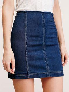 Still Think About You Dark Wash Denim Skirt Demin Skirt, Denim Mini Skirt, 70s Fashion, Skirt Fashion, Fashion Outfits, Fashion Clothes, Womens Fashion, Modest Fashion, Fashion Trends