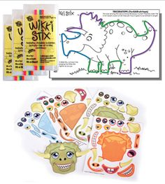 12 Dinosaur Wikki Stix and 12 Dinosaur Create-A-Dinosaur Sticker Sets. Buy it now: http://www.kidfriendlyweddings.com/productinfo_v3.aspx?productid=FA302