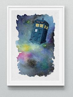 Tardis Watercolor Print : doctor who, fanart by mod girl designs