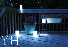 These are great to take on camping trips!  You'll need to use a wide mouth canning jar so that the led light will fit inside.  These lights last a long time and if it does go out, simply change the batteries and wah-lah!  You can find these stick on led lights at any hardware store.  We sprayed the jars with frosted glass spray paint.  The boys made these for their teachers in 2012, I think.