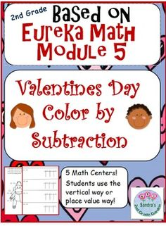 Great Math Centers! 5 in all! Students solve subtraction problems within 1,000. They may use the vertical way or the place value chart. Pages are based on Eureka Math module 5. Students LOVE these! Common Core aligned. Also may be used as whole group instruction or as a quick assessment.