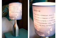 lampshade diy. i dont really like the collaged photos but the shel silverstein quote one is wonderful!