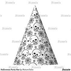 Halloween Party Hat skulls and spiderwebs