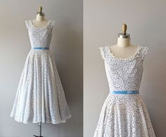 1950s dress / 50s lace dress / white lace / In the by DearGolden, $98.00