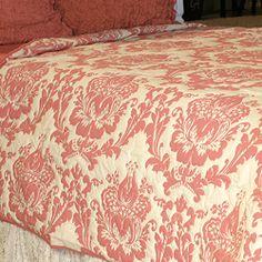 Coral damask quilt