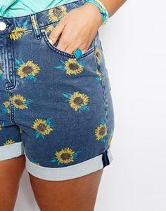 High Waist Short In Sunflower Print