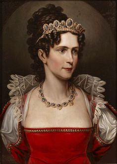 a portrait of Caroline of Baden, wearing a lovely early 19th century tiara with matching necklace