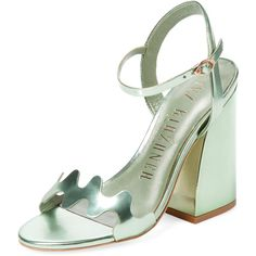 Ivy Kirzhner Women's Lush Two-Piece Sandal - Green, Size 10 (€180) ❤ liked on Polyvore featuring shoes, sandals, heels, green, leather shoes, metallic heeled sandals, leather heeled sandals, ankle wrap sandals and leather sandals
