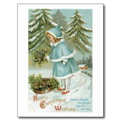 Hearty Christmas Wishes Vintage Postcard --This weekend only! Holiday cards 60% off! | USE CODE: JUST4YOUCARD