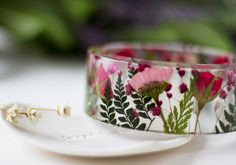 Real Flower Bangle  Pink Daisy Red Rose by ButtonsyJewellery