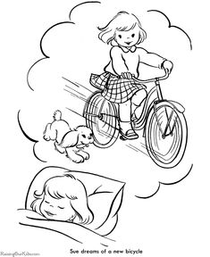Christmas coloring pages - Dreaming of a new bike!
