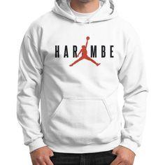 Harambe X Jordan Gildan Hoodie (on man)