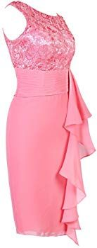 Ellames Women's Short Lace Bridesmaid Dress Mother of The Bride Dresses Blush UK 10: Amazon.co.uk: Clothing