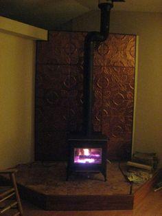 Wood Stove Tin Tile Wall Wood Stoves Pinterest Stove