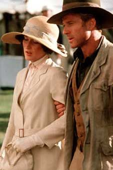 Out of Africa--Meryl Streep, Robert Redford. Edwardian costumes in film Karen Blixen, Robert Redford, Meryl Streep, Beau Film, I Movie, Movie Stars, I Look To You, Beaux Couples, Safari Chic