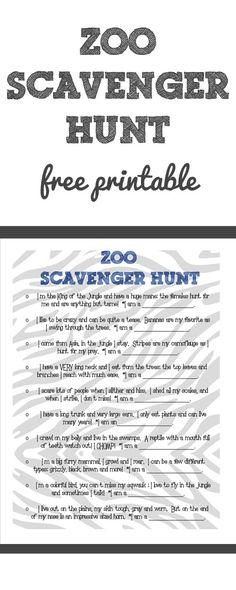 Free zoo scavenger hunt printable by minnie