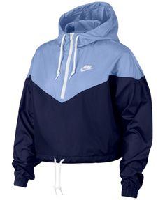 Nike Sportswear Cropped Hooded Windbreaker - Blue L Womens Windbreaker e90e3f5ba