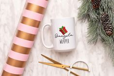 Gangster Wrapper Mug, Funny Christmas Mug, Christmas Mug by SweetSipsShop on Etsy Christmas Mugs, Funny Christmas, Menu Printing, Labour Day, Looking Forward To Seeing You, New Day, Prints, Etsy, Christmas Mug Rugs