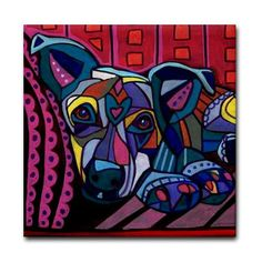 50% Off- Staffordshire Bull Terrier Puppy Art Tile Ceramic Coaster Print of painting by Heather Galler dog Gift (HG848)