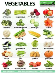 "Vegetables in English - A chart with photos of vegetables and their names in English. Did you know that at least 6 of these ""vegetables"" are in fact Fruit. Find out which ones on our page where this chart is."