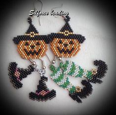 ideas about Beaded Earrings Beaded Earrings Patterns, Seed Bead Patterns, Jewelry Patterns, Beading Patterns, Halloween Beads, Theme Halloween, Halloween Earrings, Halloween Pumpkins, Halloween Jewelry