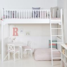 I've just found White Scandinavian Loft Bed. Classic white loft bed in traditional Scandinavian design - made in Denmark. Modern Bunk Beds, Cool Bunk Beds, Kids Bunk Beds, Modern Loft, Modern Kids, Scandinavian Bunk Beds, Scandinavian Design, White Loft Bed, Bunk Bed With Trundle