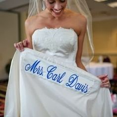 Sewing your married name into your wedding dress. #wedding #somethingblue