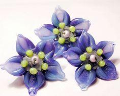 Handmade lampwork 3 purple blue