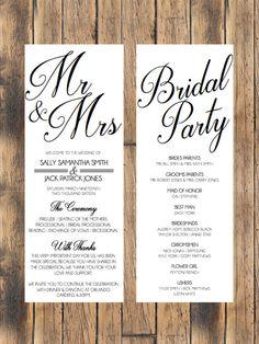 Simple Wedding Program by MistyMossDesigns on Etsy