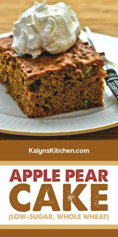 This tasty Apple Pear Cake has white whole wheat flour, apples, pears, Golden Monkfruit Sweetener, pecans, and a touch of cinnamon! [found on kalynskitchen.com] #ApplePearCake #WholeWheatCake #HealthierDessert