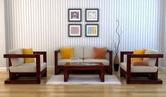 Skyler Wooden Sofa Sets (Mahogany Finish)-1