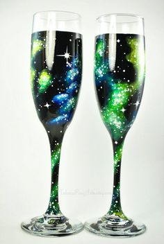 Hand Painted Galaxy Champage Glasses by TulaczFineArts. Outer space, nebula, stars, astronomy, science, space wedding, bride and groom, toasting glasses, champagne flutes, wedding glasses, wedding decoration, bridal party