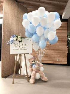 Baby Shower Deco, Boy Baby Shower Themes, Baby Shower Balloons, Baby Shower Gender Reveal, Baby Shower Parties, Baby Boy Shower, Birthday Room Decorations, Baby Boy 1st Birthday Party, Teddy Bear Baby Shower