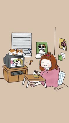 My favourite life Kawaii Wallpaper, Cartoon Wallpaper, Cute Cartoon, Cartoon Art, Dibujos Cute, Cute Illustration, Anime Art Girl, Aesthetic Art, Cute Drawings