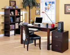 Designing home office could be a little bit tricky. Here are some tips for you who want to create a comfortable home office with right furniture and design. Mesa Home Office, Home Office Desks, Home Office Furniture, Kitchen Furniture, Furniture Design, Coaster Furniture, Home Office Cabinets, Solid Wood Desk, Desk Set