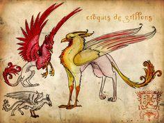 Griffons by K-Zlovetch on DeviantArt Griffins, Chimera, Mythology, Dragons, Rooster, Medieval, Moose Art, Creatures, Deviantart