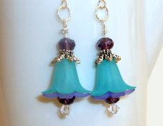 Blue & Purple Lucite Flower Earrings with Purple Glass Beads by BlissfulVine, $17.00   etsy
