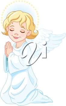 iCLIPART - Clip Art Illustration of Praying Christmas Nativity Angel