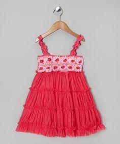 {Fuchsia Rosette Ruffle Tier Dress - Infant, Toddler & Girls by One Posh Kid}