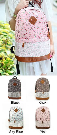 Fashion Pink Floral Print Lace Backpack only $33.99