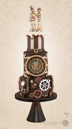 Steampunk cake by Black Cherry Cake Company | Misfit Wedding
