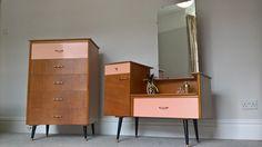 Retro Vintage Dressing Table & Chest Of Drawers Pastel Coral Peach Pink 1950s | eBay Tweens Teens Teenage Girls Bedroom Furniture Suite Set