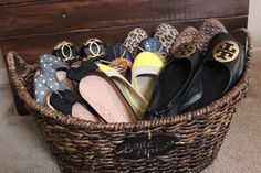 store/display your most beloved flats in a large basket (basket pictured is from World Market).