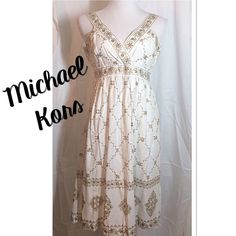 SZ 10 MICHAEL KORS GORGEOUS WHITE AND GOLD DRESS Stunning MK dress in White with beautifully embellished areas of sequins and gold foil. Hidden side zipper . Worn once perfect for any summer occasion MICHAEL Michael Kors Dresses