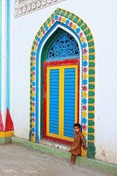 Punjab,  brightly coloured doors ...