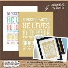 FREE! Religious Biblical Easter Subway Art Prints