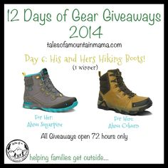 12 Days of Gear Giveaways: Day 6 - His and Hers Hiking Boots   Tales of a Mountain Mama