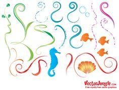 Free animal sea_life design in encapsulated postscript . Free Vector Graphics, Eps Vector, Free Vector Art, Vectors, Laurel Flower, Gratis Download, Curve Design, Types Of Stitches, Ocean Art